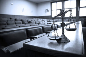 Inside of a courtroom before the catastrophic injury lawyer enters for court